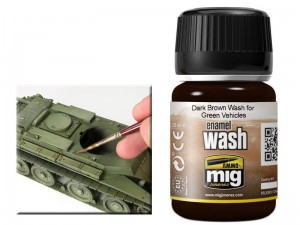 Wash modelarski Dark brown for green vehicles